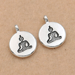 $enCountryForm.capitalKeyWord Australia - Cheap Charms 10pcs Antique Silver Plated Buddha Yoga Charms Pendants Jewelry Making Bracelet Handmade Diy Findings 14x10mm