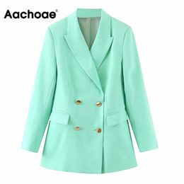 ladies office jackets Australia - Aachoae Stylish Women Double Breasted Blazer Coat Solid Casual Long Sleeve Jackets Ladies Notched Collar Pockets Office Tops