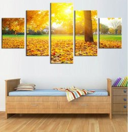 waterfalls paintings hd NZ - 5Piece Canvas Painting Autumn Waterfall HD Printed Canvas Art Prints Wall Art Home Decor Poster Pictures for Living Room