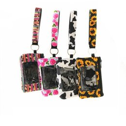 Wholesale Sunflower Leopard Cow Flower printed MultiFunction Neoprene Passport Cover ID Card Holder Wristlets Clutch Coin Wallet with keychain