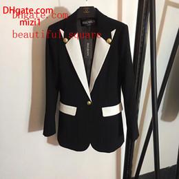 $enCountryForm.capitalKeyWord Australia - 2019 women suit coat Gold Button Contrast Lapel Long Sleeve black Blazer women tops fashion coat jacket top quality women clothes ll-3