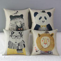 $enCountryForm.capitalKeyWord Australia - Retro Hand Painting Animals Cushion Covers Hipster Chic Panda Dog Bear Lion Cushion Cover Decorative Linen Cotton Pillow Case