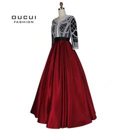 $enCountryForm.capitalKeyWord Australia - Pearl Decoration Arabic Ball Gown Muslim Prom Dress 2019 Long Evening Party Burgundy Handmade Three Quarter Sleeves