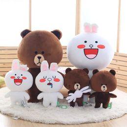 $enCountryForm.capitalKeyWord Canada - 36cm 14inch Kawaii Brown Bear and Cony Rabbit Anime Stuffed Animal Plush Toy Korean Cartoon Figure Soft Kids Doll Birthday Gifts