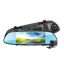 """$enCountryForm.capitalKeyWord NZ - 7"""" big touch screen car DVR rearview mirror recorder 2Ch driving camera front 170° rear 120° wide view angle night vision motion detection"""
