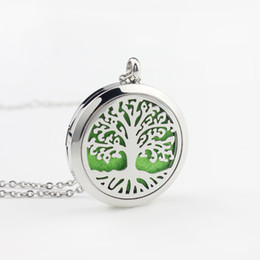 Tree Life Locket Pendant Australia - Hot sale 316 stainless steel tree of life perfume Locket aromatherapy essential oil diffuser pendant necklace