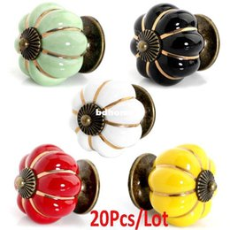 ceramic pumpkin handles NZ - 20Pcs Lot Wholesale New Fashion Europe Ceramic Door Cabinets Cupboard Pumpkins Knobs Handles Pull Drawer 5Colors TK0940