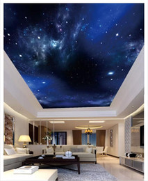 custom wedding stickers Australia - Custom 3D silk photo background ceiling HD starry night view big picture living room bedroom zenith ceiling mural wall sticker