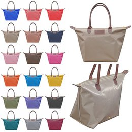 Solid colorS tote bagS online shopping - 18 Colors Dumpling Handbag Women Candy Color Folding Cosmetic Bags Waterproof Storage Bag Totes Shopping Bags