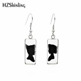 Pan hooks online shopping - 2019 New Peter Pan Silhouette Fish Hook Earring Art Photo Rectangular Earrings Glass Dome Handmade Jewelry