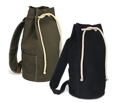 $enCountryForm.capitalKeyWord UK - New Black Sports Canvas Drawstring Bucket Bag Outdoor Sports Backpack Casual Star Pocket Bag Canvas Backpack Shoulder Sports Bucket Packs