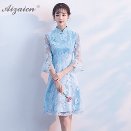 fbbfbd2a5 Fashion Short Lace Elegant Cheongsam Dresses Chinese Traditional Dress  Qipao Oriental Style Teenage Girl Small Gown Blue Qi Pao