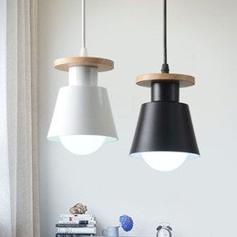 Modern Wooden Lights NZ - Nordic Wooden Indoor Led Pendant Lamp Modern Kitchen Dining Bedside Room Suspension Hanging Light Fixture Luminaire Home Decor-I49