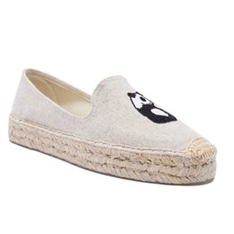 Slip Creepers UK - Large Size Espadrilles Watermelon Loafers Women Platform Jeans Korean Cartoon Creepers White Canvas Shoes Embroidery Denim