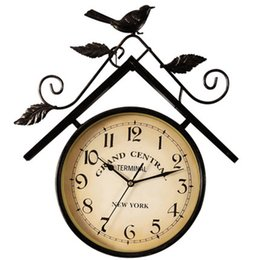 $enCountryForm.capitalKeyWord Australia - Creative Vintage Wall Clock Antique Living Room Double Sided Digital Quartz Silent Duvar Saati Bird Rustic Wall Decor WKP410