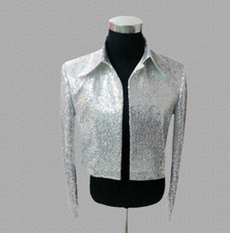Silver Clothes For Men Australia - Fashion blazer men suits designs short jacket mens stage costumes for singers clothes dance star style dress masculino homme