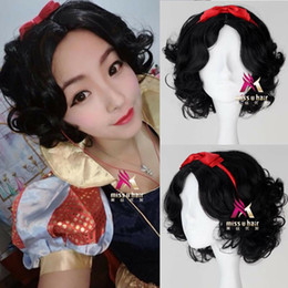 $enCountryForm.capitalKeyWord NZ - Princess Snow White wig short black curly cosplay anime wig with red hair pin