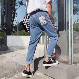 $enCountryForm.capitalKeyWord Australia - Wholesale 2019 Spring Autumn streetwear boys jeans knee hole pencil pants Slim patch men's pants students light teenagers jeans