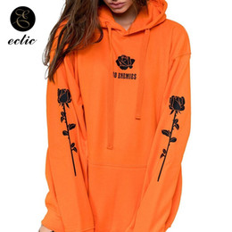kangaroo pocket 2019 - Rose Hoodie Plus Size Hoodies Women 5xl Poleron Mujer 2019 Orange Sweatshirt Gothic Lettering No Enemies Kangaroo Pocket