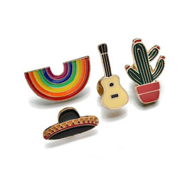 rainbow brooches Australia - Fashion Colorful Enamel Pin Brooches For Women Cartoon Creative Mini Rainbow Hat Guitar Cactus Metal Brooch Pins b322