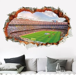 Home Stickers For Walls Australia - New 3D Brick Wall Pattern Football Field Wall Stickers For Kids Room Home Decor Sofa TV Wall Decals Self-adhesive Art Mural