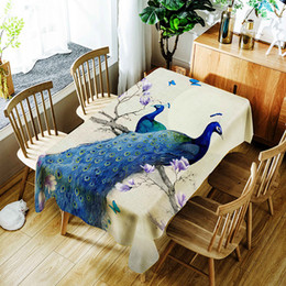 peacock cloth Canada - 3d Rich Peacock Tablecloth Creative Lotus and Vase Pattern Polyester Comfortable Waterproof Table Cloth Cover for Children