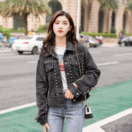 e6f7f6eee7f Rivet Women s Spring Denim Jackets Vintage Korean Female Black Jacket  Cropped Jeans Coat Woman s Trend Outerwear Short