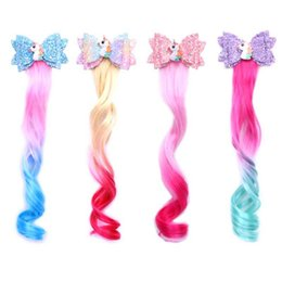 princess braiding hair Australia - Children Girls Gradient Unicorn Wigs Hair clip Ponytail Hairpin baby princess braid Barrettes Sequin bow Headwear Kids Hair AccessoriesC1307
