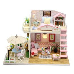 $enCountryForm.capitalKeyWord NZ - Doll House Diy Miniature Dollhouse Wooden Toy With Furnitures Handmade Casa Interative Toys Dolls Houses For Kids Birthday Gift SH190709