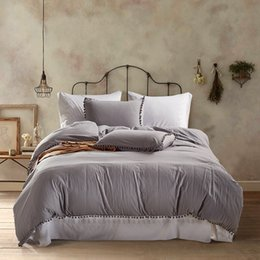light gray duvet NZ - Lucky Home Light Gray Queen 3-Piece Duvet Cover Set Washed Microfiber Natural Ultra Soft Solid Color Modern Bedding Sheet Set (King)
