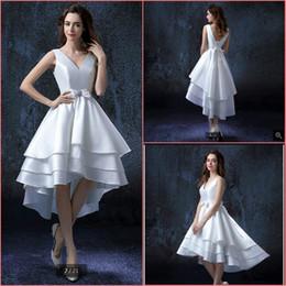 $enCountryForm.capitalKeyWord Australia - Vestido De Novia 2019 white satin high low wedding dress a line sleeveless v neck with bow cheap stylish wedding dresses corset wedding gown