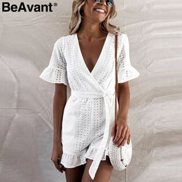 Elegant Jumpsuits Sleeves Australia - Beavant Elegant Ruffle White Rompers Womens Short Sleeve High Waist Cotton Summer Jumpsuit Female Sexy V Neck Playsuit C19040402