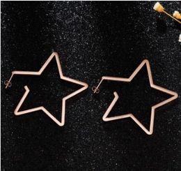 Осень и зима новая мода Титана стальные серьги преувеличивать Звезда серьги женский Роза Золотой пятиугольник ювелирные изделия