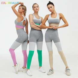 long sleeveless cardigan vest NZ - Colorvlaue Seamless 3colors Patchwork Sport Yoga Suits Vest-type Bra Tummuy Control Leggings Workout Fitness Sets Activewear Y200328