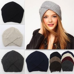 5e3aa5e1967 2018 Hot Sale Women Crossing Beanie Winter Knitted Skull Caps Warm Wrap  Head Indian Cap Crossed Balcony Hat 7 Colors