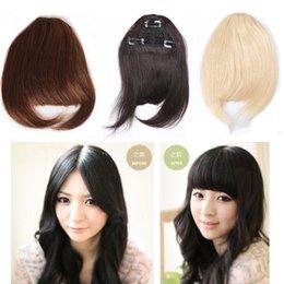 Scollo di capelli umani MEYA con clip Colore naturale Clip di colore marrone scuro in frangia Cute Neat Cut Bang