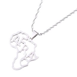 $enCountryForm.capitalKeyWord Australia - Stainless Steel Africa Map Necklace Gold Color Pendant Chain African Map Gift for Men Women Ethiopian Jewelry