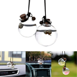 scent bottle pendant UK - Car Perfume Bottle Empty Hanging Bottle for Essential Oils Perfume Pendant Auto Ornament with Flower Air Freshener Car-styling