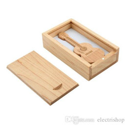 guitar usb flash drive Canada - Promotion 16g 32g 64g Guitar Usb Stick Wood Pendrive Custom Logo Disk On Key Gift Usb Flash Drive over 30pcs free logo come with wood box