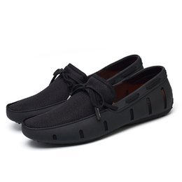comfortable shoes breathable fabric UK - Durable Mens Lace Loafers SWIMs Casual Beach Shoes Breathable Driving Shoes for Men Penny Loafers Mesh Comfortable Shoes