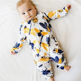 $enCountryForm.capitalKeyWord NZ - Baby Romper Newborn Baby costume Infant Boy Girl Long Sleeve Cartoon Insect Printed Zipper Jumpsuit Romper baby clothes D21