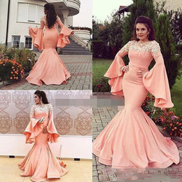 f20f469b95789 Arabic Style Mermaid Prom Dresses 2019-2020 Trumpet Long Sleeves Lace  Appliques Evening Gowns Zipper Back Floor Length Dubai Party Dress