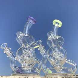 double perc oil rig Australia - Double Recycler Glass Water Bongs Green Purple Oil Dab Rigs Slitted Donut Perc Water Pipes Torus Glass Bong Unique Hookahs With Bowl XL-324