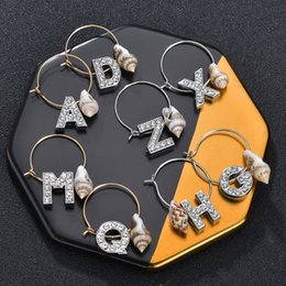 initial earrings Australia - New Fashion Initials Letter A-Z Sea Shell Tassel Name Hoop Earrings For Women Gold Color 26 Letter Crystal Christmas Earrings