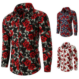 White Single Rose Australia - 2018 New Men Casual Rose Flower Printed Shirts Long Sleeve Tops Tee Slim Fit 3 Colors Turn Down Collar M-3XL