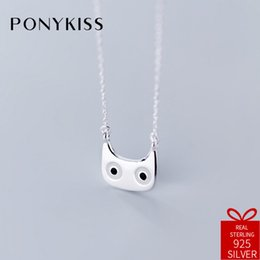 $enCountryForm.capitalKeyWord Australia - PONYKISS Romantic 100% 925 Sterling Silver Cute Funny Cat Pendant Necklace Chain Women Party Fine Jewelry Birthday Delicate Gift