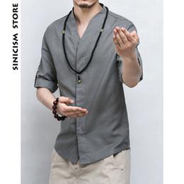 $enCountryForm.capitalKeyWord Australia - Sinicism Shop Mens Cotton Linen Men's Shirt Three -quarters Sleeve Solid Chinese Clothing Men's Shirt Big Size Y19071301