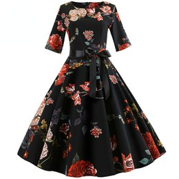 $enCountryForm.capitalKeyWord Australia - Print Vintage Dress Women Long Sleeve Elegant Party Dress Autumn Winter Female Casual A-line Dress Tunic Plus Size designer clothes