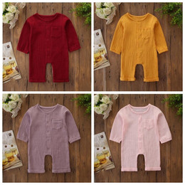 Discount girls bubble rompers Kids Clothes Boy Girls Rompers Baby Long Sleeve Pants Onesies Infant Bubble Cotton Jumpsuits Child Button Solid Color Pl