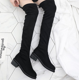 Wholesale Long Boots Australia - Over the knee boots suede long boots woman autumn winter 2018 new style with thick with fashion stretch women's boots